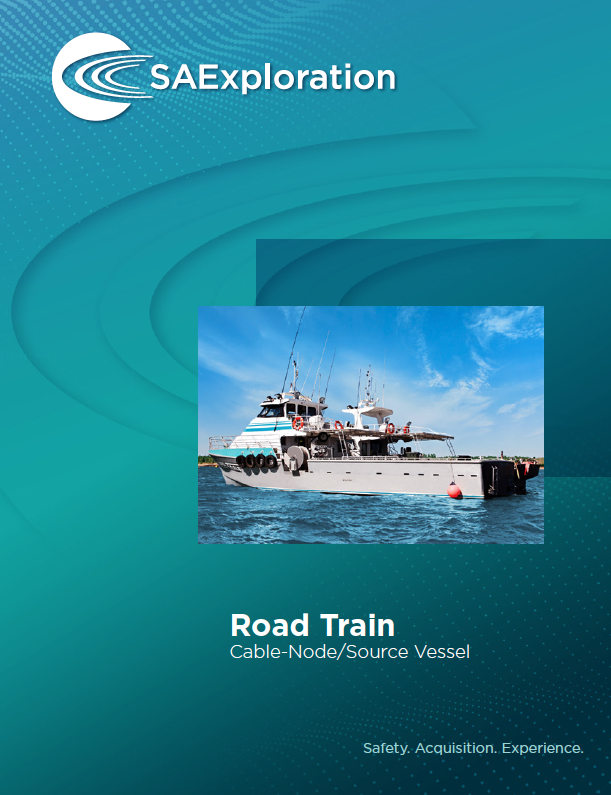 SAExploration Road Train cable-node source vessel. Used in shallow water depths.