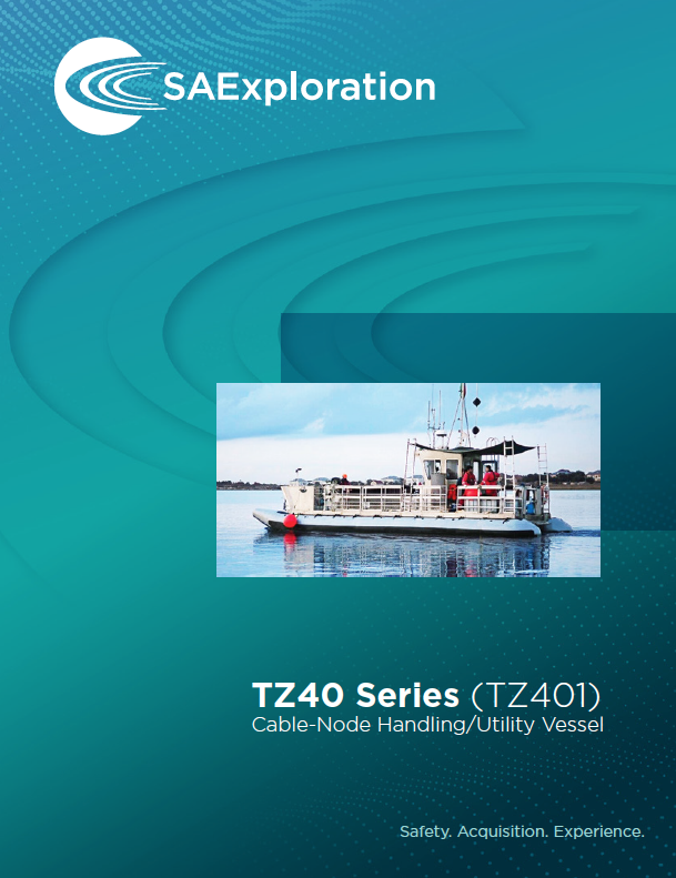 SAExploration TZ40 series cable-node handling and utility vessel. Used in shallow water depths.