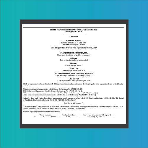 SAExploration / SEC 8k Material Event Report.