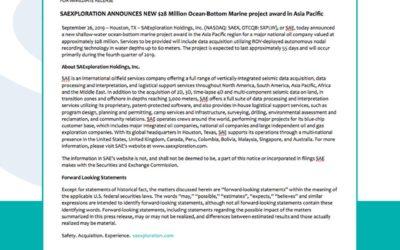 $28 Million Ocen-Bottom Marine project award in Asia Pacific.