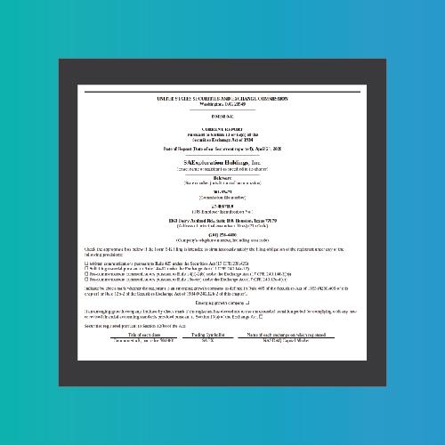 SAExploration / SEC 8K Material April Event Report